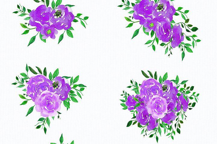 Wedding, Wedding Invitation Clipart, watercolor Flowers example 4