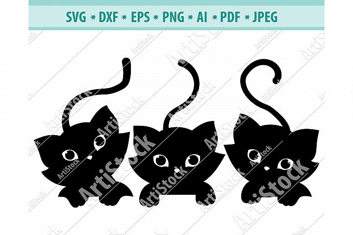 Cats peeking Svg, Cute fun kittens Svg, Pets Dxf, Png, Eps
