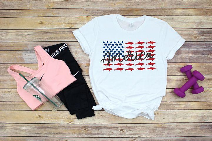 Patriotic Shark Svg American Flag Fishing Summer 1411s