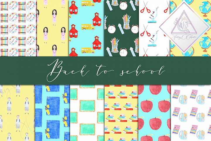 Watercolor Back To School Digital Paper