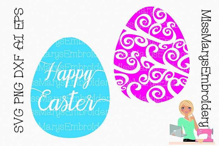 Easter Egg Swirls SVG Cutting File PNG DXF AI EPS