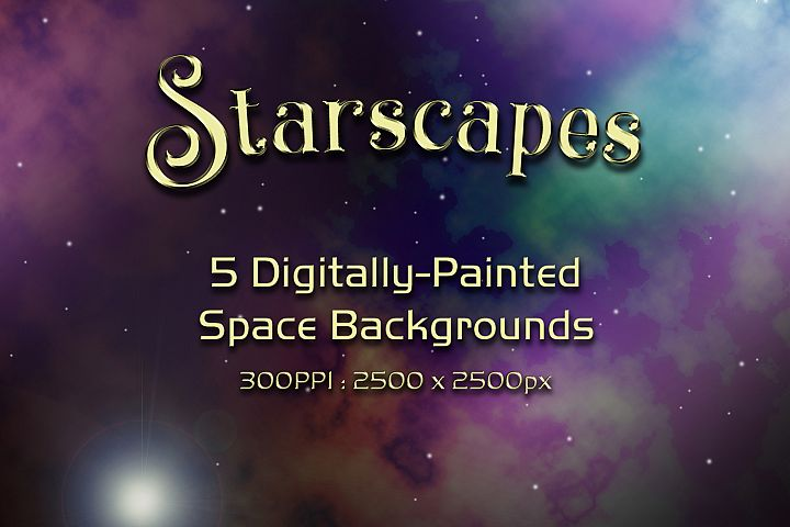 Starscapes - 5 Digitally-Painted Space Background Textures
