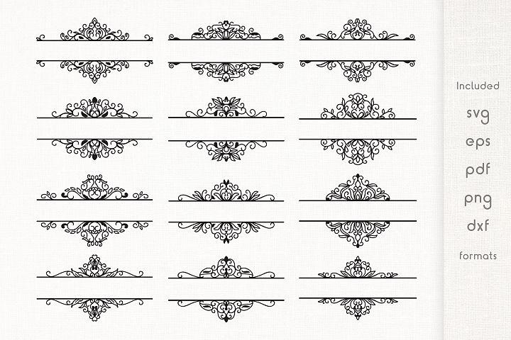 Floral Split Monogram Divider Frames SVG - Vector