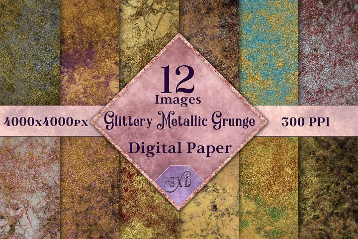 Glittery Metallic Grunge Digital Paper
