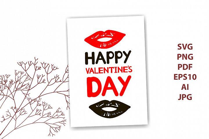 Happy valentines day card - svg, pdf, eps, png, ai, jpg. Li