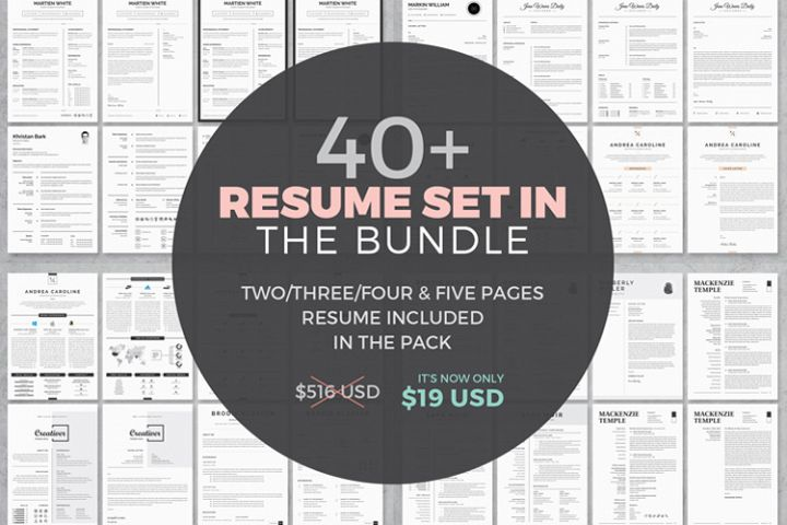 40 Word Resume/CV Template Bundle