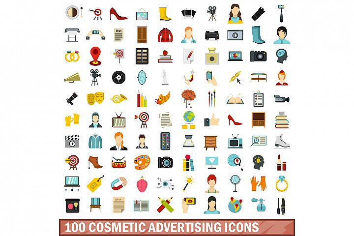 100 cosmetic advertising icons set, flat style