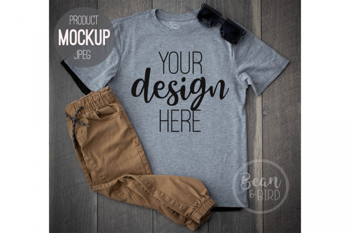 Grey Kids Shirt Mockup