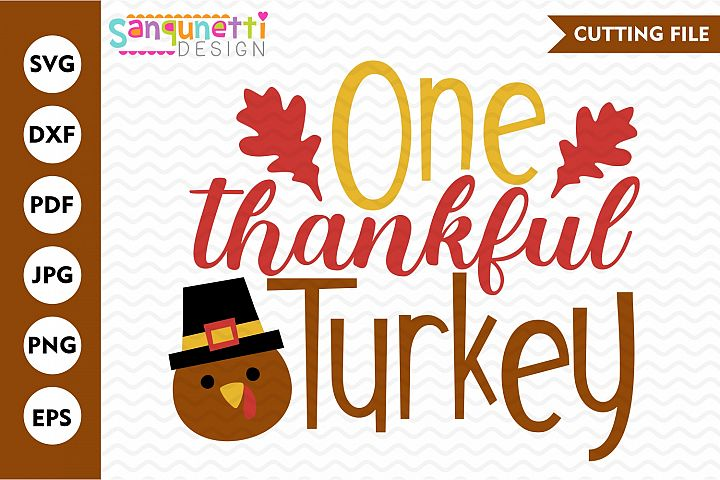 One thankful turkey svg, Thanksgiving cut file