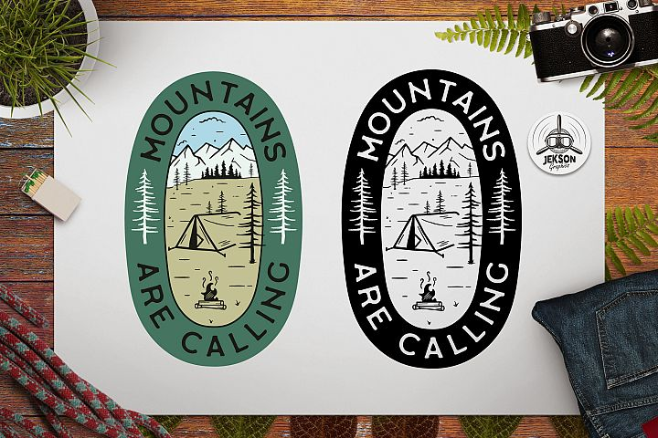 Mountains Calling Logo Retro Camping Badge TShirt SVG Cut