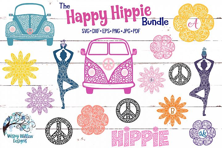 The Happy Hippie SVG Bundle | Mandala | Zentangle | Flowers