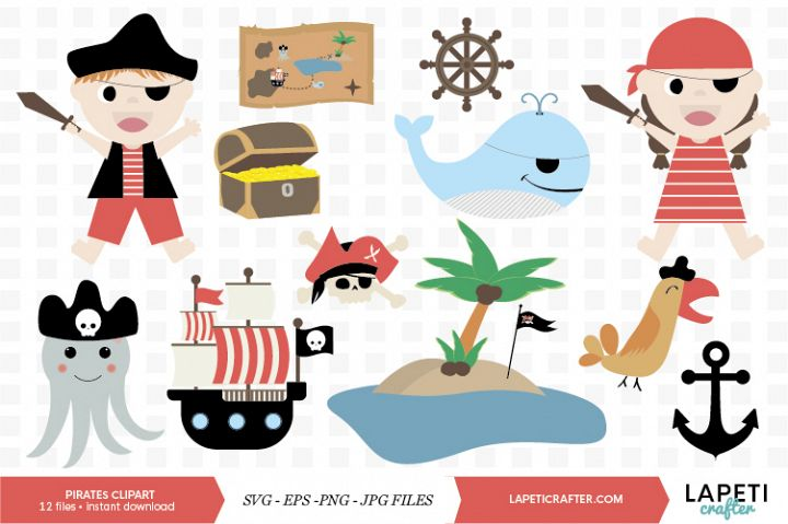 Cute Pirates Clip Art, Pirate Boy Girl, Pirate party