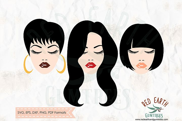 Woman with different hairstyles, lashes in SVG,DXF,PNG,EPS