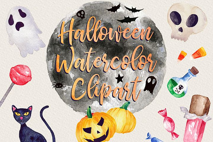 Halloween Watercolor Clip Art Pack! With SVG/Vector Versions example
