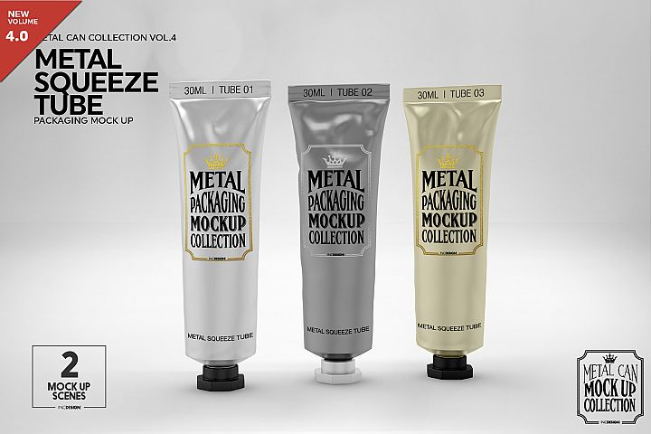 Metal Squeeze Tube Packaging Mockup