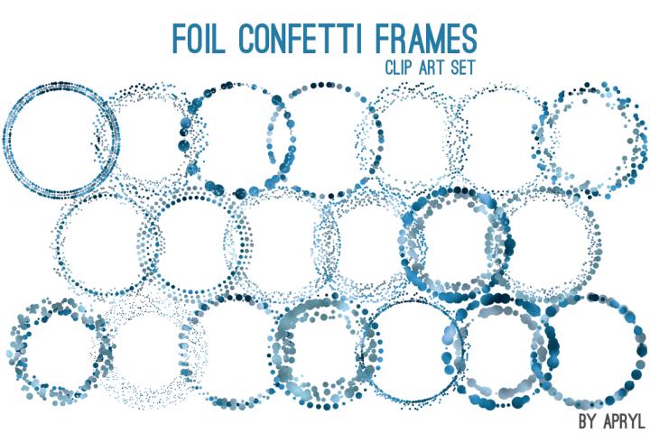 Blue Foil Round Confetti Frames