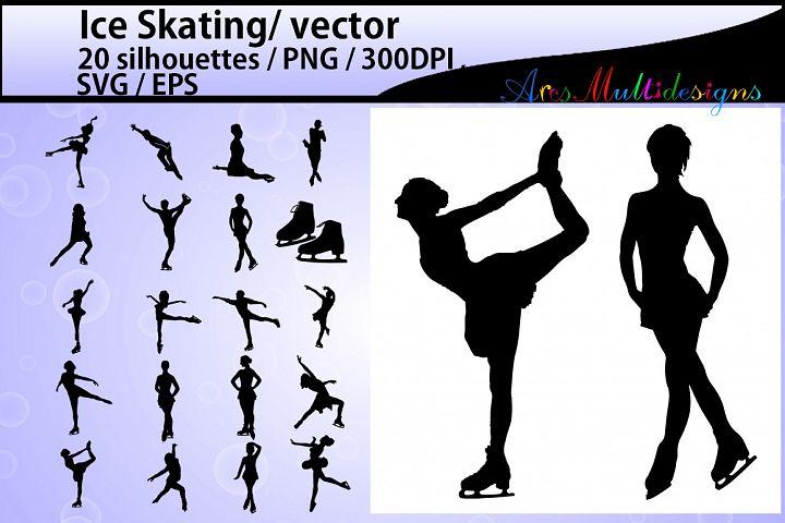 Ice Skating silhouette/ ice Skating / Ice Skating clipart / High Quality vector 300 dpi / athletes / Skating / EPS / SVG / PNG