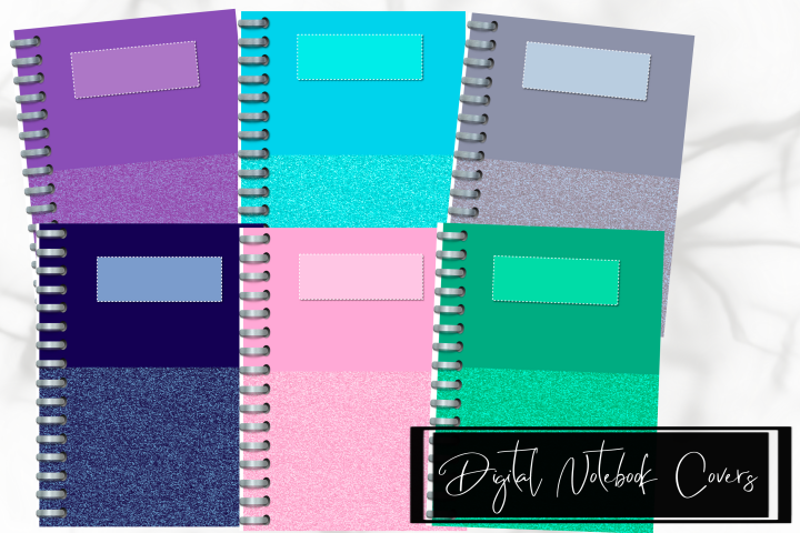 Six Glitter Decorated Digital Notebook/Planner Covers
