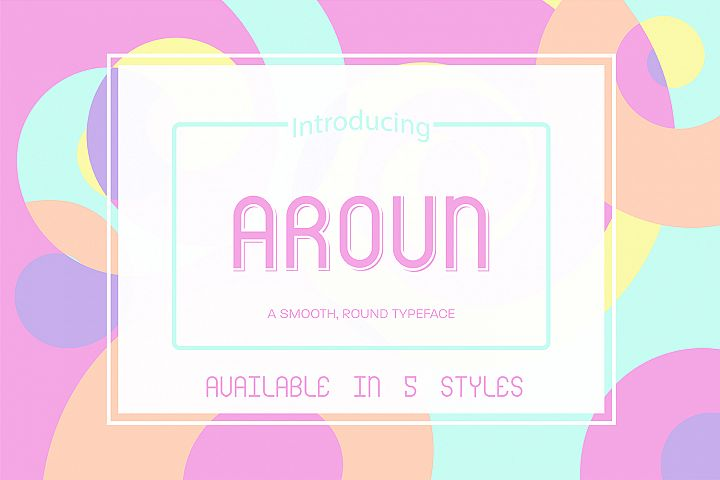 Aroun|All Caps Typeface| 5 Styles Included