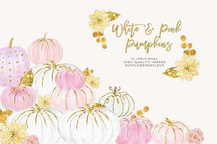 White and Pink Pumpkins, Watercolor Pastel Pumpkins