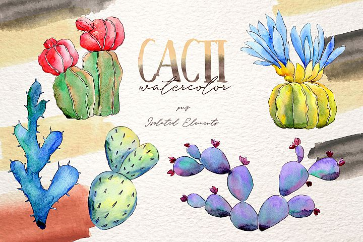 Cool colorful cacti PNG watercolor set example 5