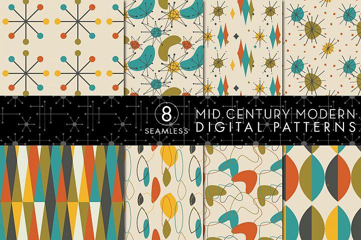 8 Seamless Mid Century Modern Patterns - Set 4