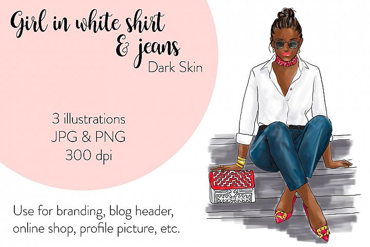 Fashion illustration - Girl in White Shirt & Jeans - Dark