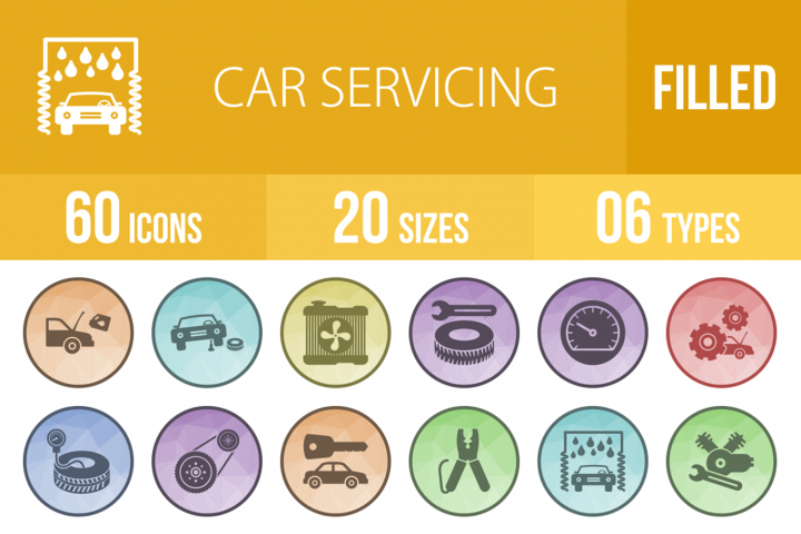 60 Car Servicing Filled Low Poly Icons