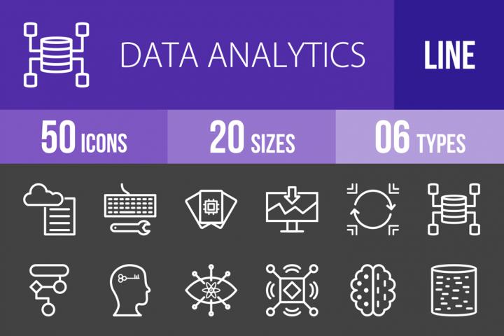 50 Data Analytics Line Inverted Icons