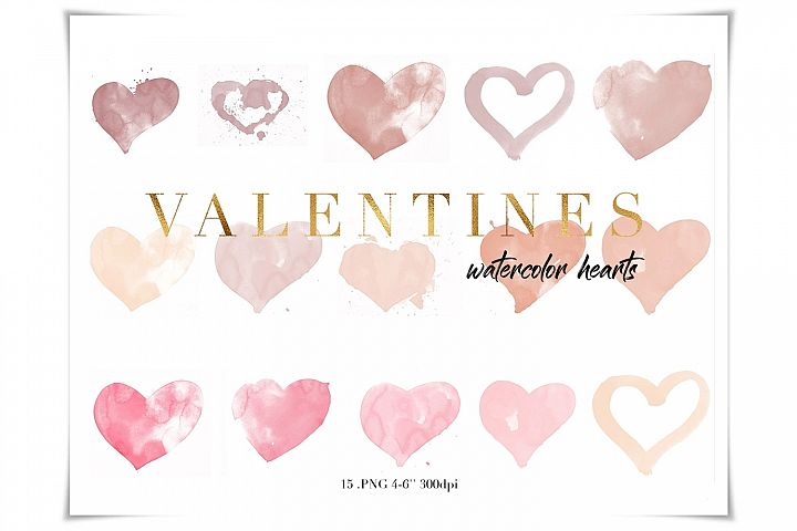 Blush Pink Watercolor Hearts Clipart
