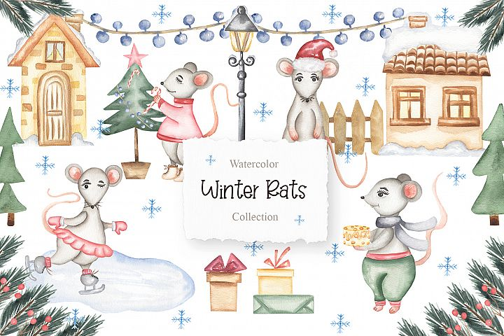 Watercolor Winter Rats Collection