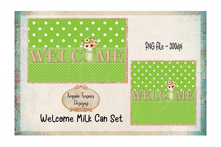 Welcome Milk Can Set Sublimation PNG