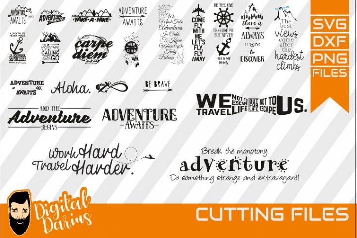 22x Adventure Awaits SVG, Travel Svg, Hobby dxf, Mountains