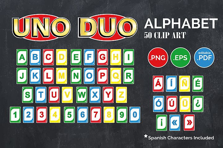 Alphabetic UNO Clip Art,spanish Characters Included,PNG,PDF