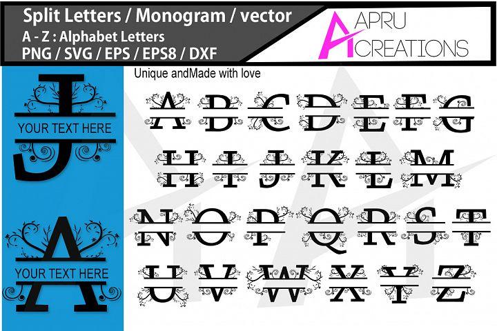 Split Letters Svg / monogram vector svg / A - Z alphabet svg set ( vector ) / monogram