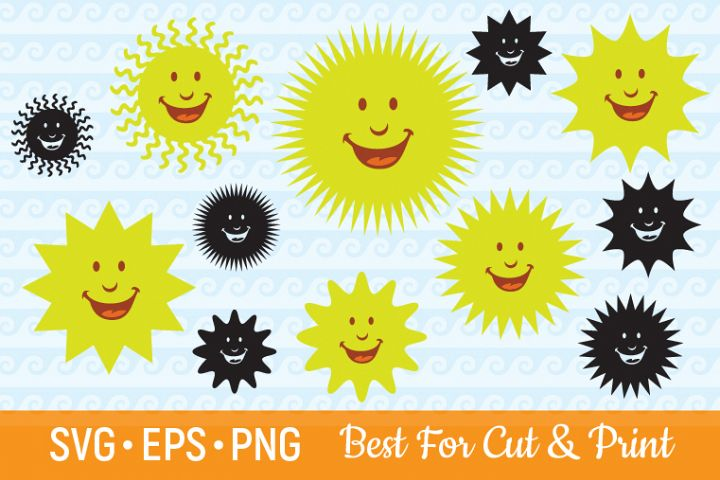 Sun SVG Sun Clipart Sun Vector Sun Bundle Cartoon Sun SVG