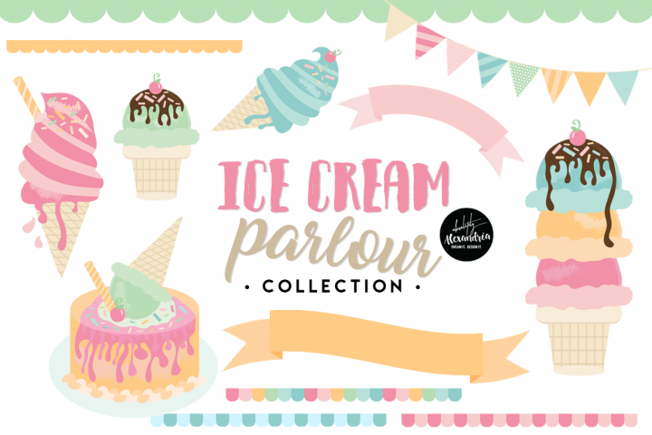 Ice Cream Parlour Clipart Graphics & Digital Paper Patterns Bundle