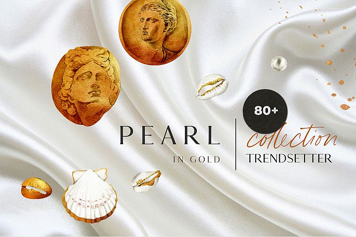 PEARL IN GOLD seashell trend watercolor design collection