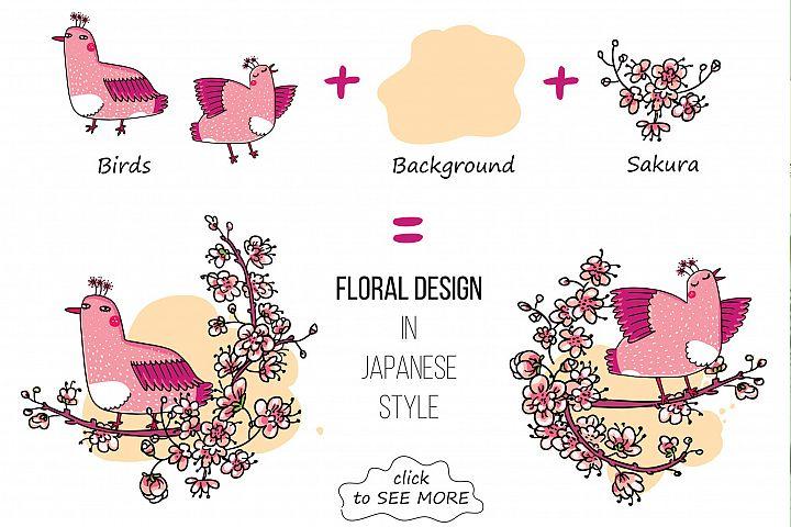 Pink Japanese Bird - Floral set example 2