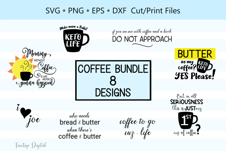 Coffee Designs for Cutting and Printing, A Coffee SVG Bundle