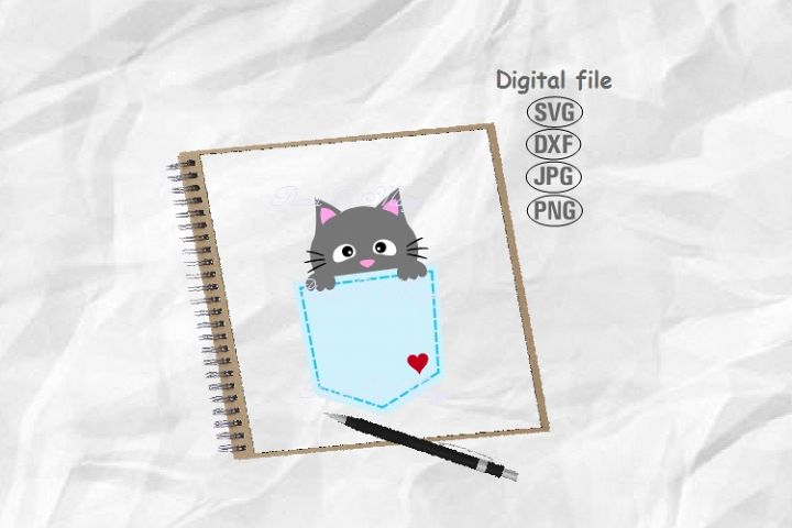 Pocket Svg, Cat Svg, Cat Pocket Svg, Cat Cricut, Peeking Cat