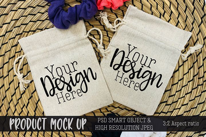 Drawstring bags Craft mock up | PSD & JPEG
