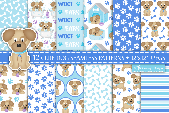 Dog Digital Papers, Dog Patterns, Puppy Dogs -P40