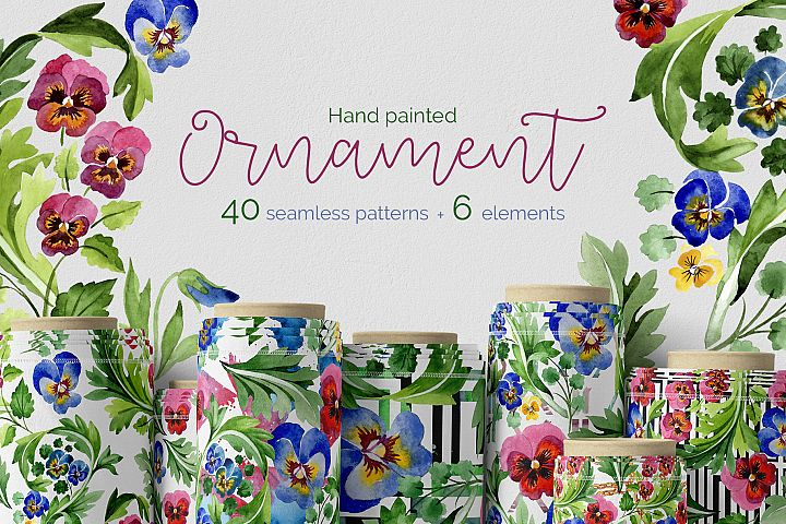Floral ornament Patriot Ukraine watercolor PNG