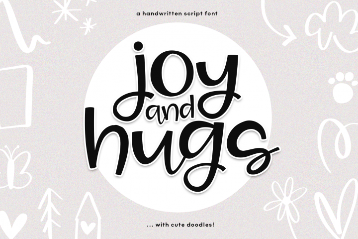 Joy & Hugs Handwritten Script Font - with doodle extras!