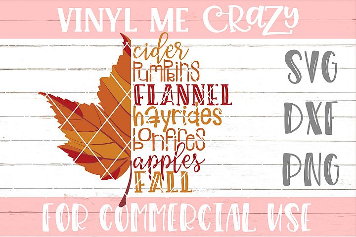 Fall Leaves Checklist SVG DXF PNG