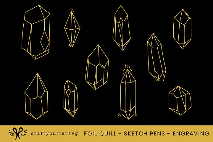 Foil Quill Gem Diamonds Crystals Sketch Pens Engraving