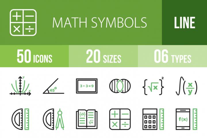 50 Math Symbols Line Green & Black Icons