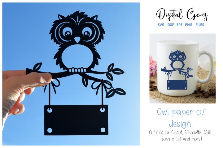 Owl paper cut design SVG / DXF / EPS / PNG files