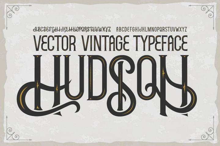 Hudson OTF vintage label font. Uppercase only!